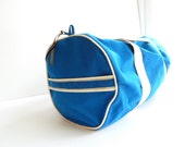 Vintage Duffle Bag, Gym bag, Bright blue, 1970s duffle bag, 70s gym bag