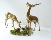 Vintage Brass Deer, Brass Figurines, Brass deer set,Pair of brass deer,  Rustic, Woodland
