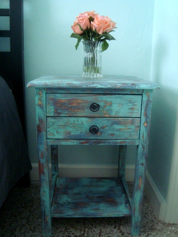 RUSTIC BEACH RETREAT-  end tables - real wood - great accent pieces