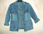 Vintage Denim Jacket - Size XS - S Faded Blue Jeans Jacket
