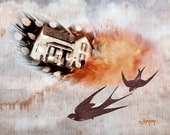 Aloft Art Print 5 x 7 Digital Collage Giclee Signed by M Dempsey House Feather Birds Flying Victorian