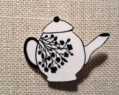 Teapot with flowers Brooch