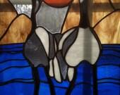 """Bird Stained Glass Window 15""""x 20"""" by Kittyland Art"""