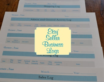 Etsy Seller Business Organizer Logs Printables Organizer Kit - 6 Printables PDFs IMMEDIATE DIGITAL DOWNLOAD