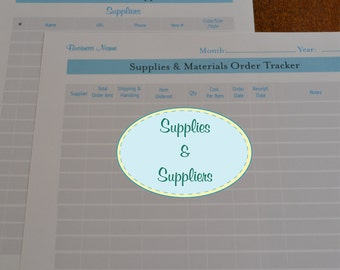 Etsy Seller Supplies & Suppliers Organizer Kit - 2 Printables IMMEDIATE DIGITAL DOWNLOAD