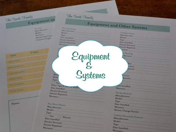The Home Equipment and Systems Organizer Kit - 2 Documents IMMEDIATE DIGITAL DOWNLOAD