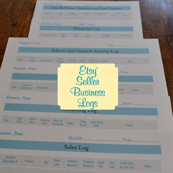 Etsy Seller Business Organizer Logs Printables Organizer Kit - 6 Printables PDFs IMMEDIATE DIGITAL DOWNLOAD