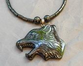 House Stark Direwolf hematite necklace