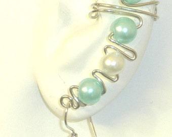 Ear Cuff Wrap - white and aqua faux pearls non tarnish silver tone wire