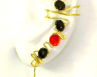 ear cuff wrap - red and black beads  with nontarnish wire