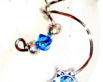 Ear cuff wrap pair Blue - topaz color crystals non tarnish silver tone  wire