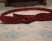 Accessories By Pearl Authentic Vintage Red Leather Belt Snaps with Bow size Small Rockabilly PinUp 28 inches