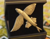 Vintage Metal Flying Fish Koi pin brooch from Gibraltar in 1950's Retro Jewelry