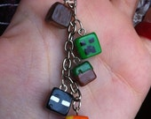 Minecraft key ring made of 5 different blocs