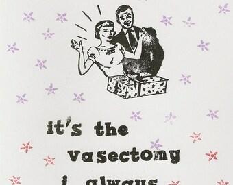 Funny vasectomy handstamped greeting card
