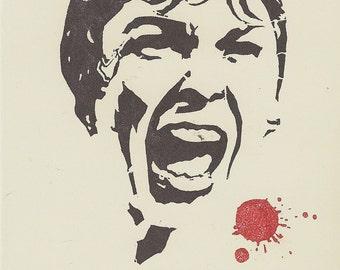 Psycho Bates Hotel scream handstamped horror greeting card