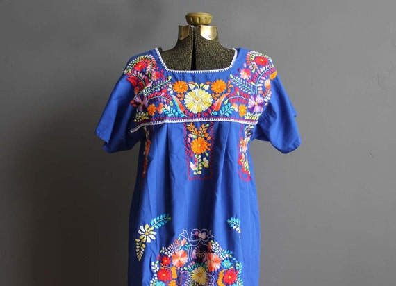 Boho Embroidered Long Blue Mexican Dress