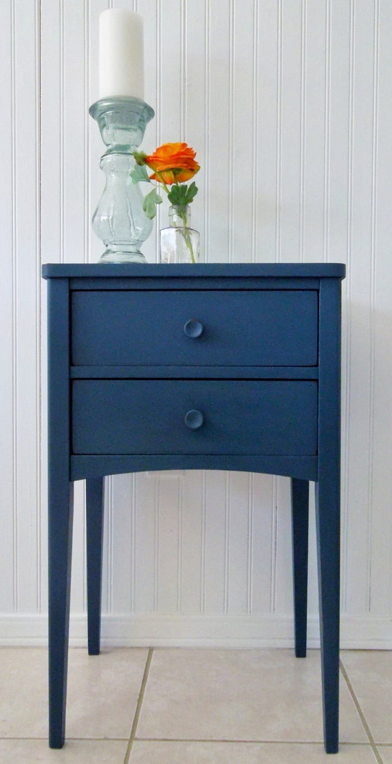 Peacock Blue Retro End Table-SOLD