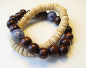 Wood bead blue gemstone bracelet. Yoga. Stretch. Set of two