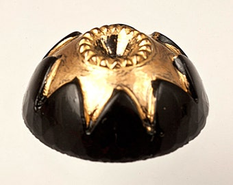 72 Black Gold Dome Cabochons, 15mm Round Flat Back Glass Bubble, Gold Sun Star Starburst Detail, Unusual Fancy Vintage DIY Jewelry Stone