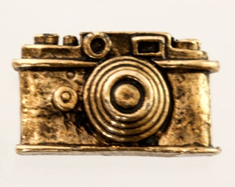 "72 Camera Charm Castings, Oxidized Gold Pewter 3D Charm, Bulk Destash Mixed Media Supplies, Scrapbooking Camera Embellishment, 3/4"""