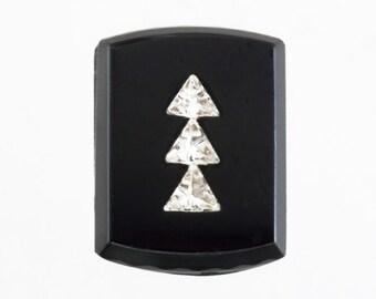 72 Black and Crystal Gems, 1950s German Flat Cabochon Tile, Fancy Art Deco Clay, Mosaic, Mixed Media Glass Gem, Inlaid Crystal, Destash Lot
