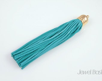 Blue Color Leather Tassel with Gold Cap / 12mm x 98mm / EBUG002-P (1pcs)