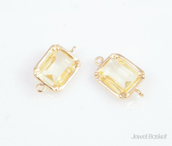 Jonquil color and Gold Framed Glass Connector - 2pcs Jonquil Yellow Color Connector 9x16mm, Earrings Jewelry Connector / SJQG006-C