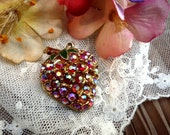 Strawberry, crystal, vintage brooch