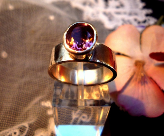 Silver and pink tourmaline ring.