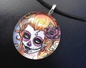 Flores de la Muerte Glass Art Pendant