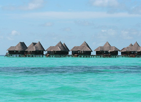Maldives bungalow Art Photography print