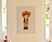 Framed Felt Cowboy, Cowboy Nursery Decor, Cowboys and Indians, Boys Nursery Art, Nursery Wall Art, Christening Gift for Boys, New Baby Boy