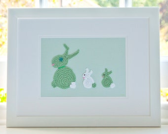 Bunny Nursery, Nursery Wall Art, Green Crochet Bunny Picture, Nursery Decor, New Baby Gift, Bunny Nursery Art, Cute Childrens Pictures