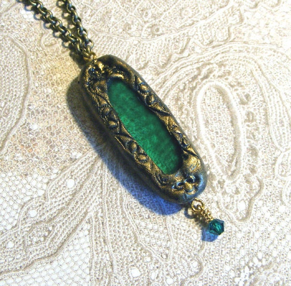Renaissance Faire Necklace Green Stained Glass Jewelry Medieval Boho Gothic