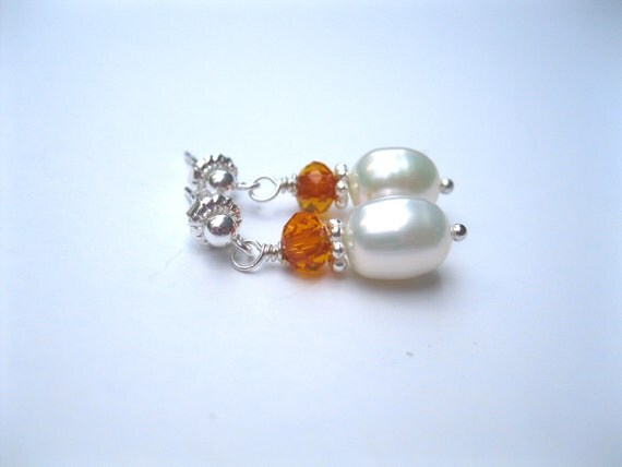 Sterling silver ball earrings with pearls and crystals