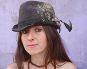 brown fedora country fantasy designer felt hat with floreal silk patterns and feathers