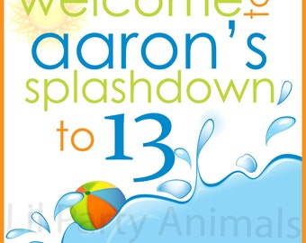 DIY printable Pool Party Welcome Sign