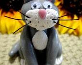Grey and White Cat Figurine