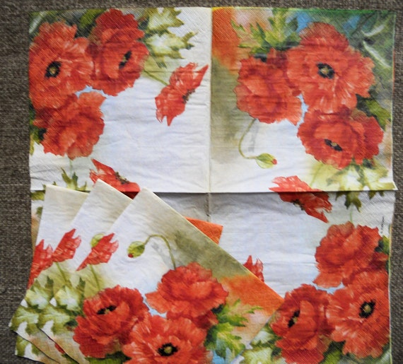 Paper Napkin for crafts, decoupage, Poppy floral napkin, Orange red flowers, 2 (two) Lunch size napkin POPPIES Red and Green
