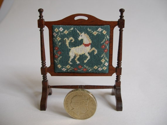 1:12 scale Dolls' house KIT fire screen and Unicorn petitepoint