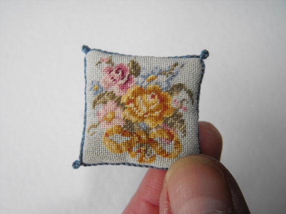 Miniature tapestry pillow / cushion Floral with Bow