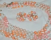 Multi Strand Necklace and Earrings, Faux Pearl/Aurora Borealis Crystals, Peach, Corals and Pinks - Vintage 50's Set