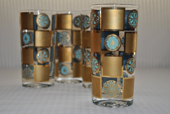 Retro Highball/Tumblers, Turquoise and Gold Mad Men Style by Culver/Briard, Set of 4
