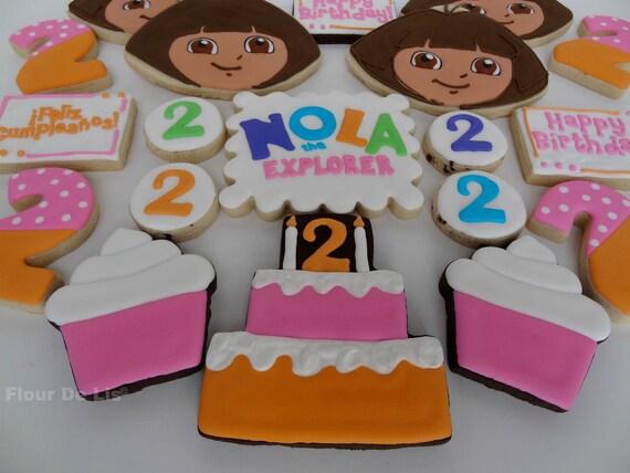 1 Dozen Custom Dora the Explorer Cookies