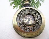 1pcs 45mmx45mm Bronze Color Beautiful Flower Mechanical pocket watch pendant PW070