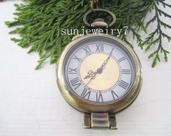 1pcs 45mmx45mm  Glass cover Bronze pocket watch charms pendant