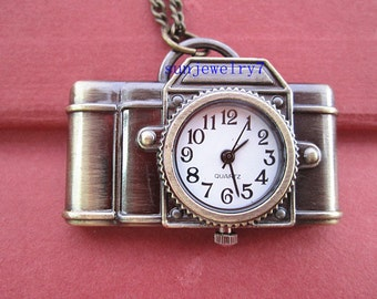 1pcs 42mmx22mm Bronze color camera pocket watch charms pendant