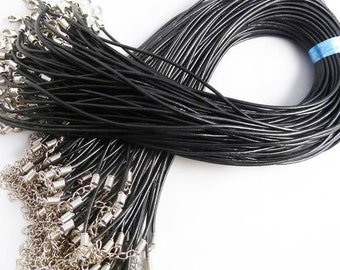 20pcs 17--19inch adjustable Real Leather Black Necklace Cord 3.0mm