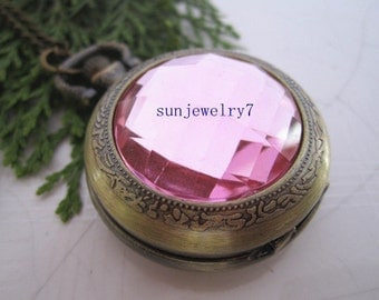1pcs Pink Crystal pocket watch charms pendant  PW051 35mmx35mm